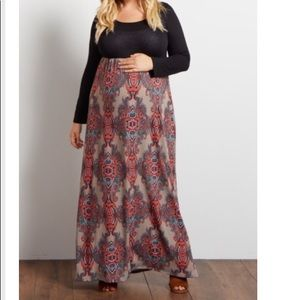 Taupe Paisley bottom maxi dress